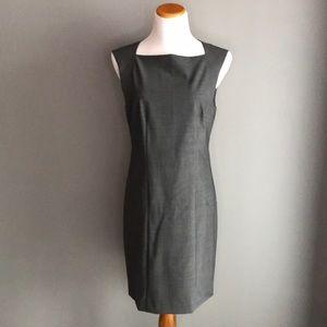 Theory Square Neck Wool Sheath Dress 12 Grey EUC